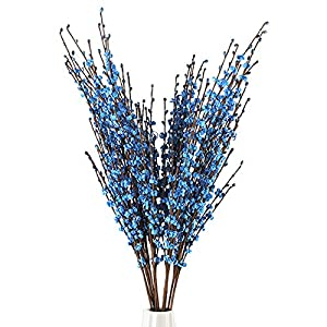 5Pcs 75CM Long Artificial Flower Winter Jasmine Folk Pip Berry Plant Dry Branches for Wedding Home Office Party Hotel Table Vase Christmas Decor – Blue