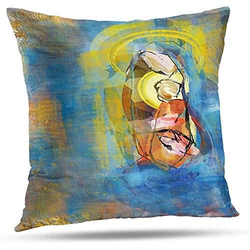 LisaArticles Fundas para Almohada,Virgen María con El Niño Jesús Artístico Abstracto Moderno Colorido Decoración del Hogar Funda De Almohada con Cremallera 45X45 Cm