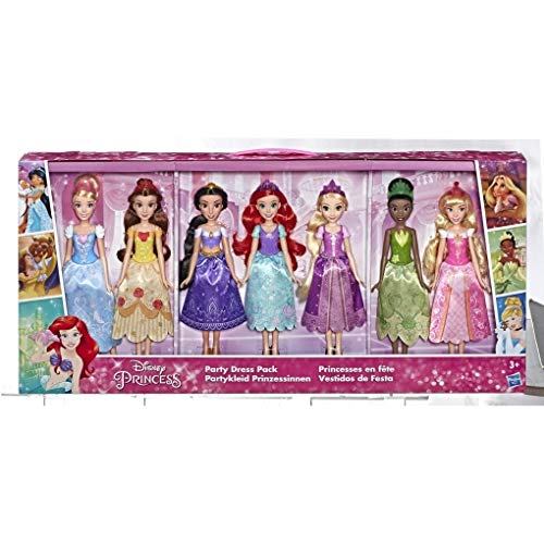Disney Princess Party Dress Pack, Incluye Ariel, Aurora, Belle, Cinderella, Jasmine, Rapunzel, y Tiana Fashion Dolls