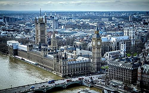 MX-XXUOUO Pussel 1 000 delar kända platser: Stadsutsikt hus Big Ben bridge Themsen England London