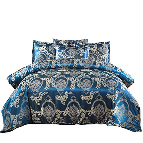 A Nice Night Bedding European Paisley Damask Design Jacquard Duvet Cover Set King,Navy