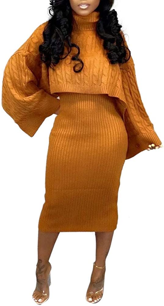 acelyn Women's Sweater Dress Max Challenge the lowest price 86% OFF Set - Oversiz Long Neck Sleeve High