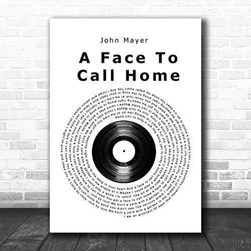 Een gezicht naar huis te bellen Vinyl Record Song Lyric Quote Muziek Poster Print Large A3