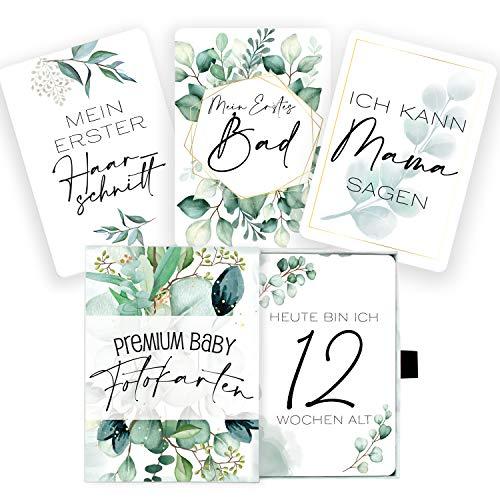 45 Baby Meilenstein-Karten im Eukalyptus Design für Jungen & Mädchen mit hochwertiger Verpackung von Cozy Racoon - Meilensteinkarten als Geschenk zur Geburt, Babyparty, Schwangerschaft