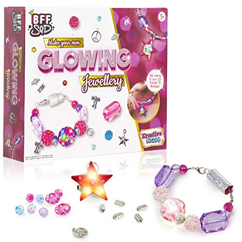 KreativeKraft Bastelset Kinder, Perlen zum Auffädeln für Mädchen ab 5 Jahre, Schmuck Set Selber Machen, DIY Armband Basteln, LED Perlen Ketten Set, Kleine Geschenke für Mädchen