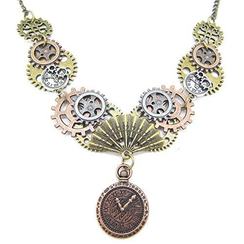 Inveroo El Último Modelo De Ventilador Y Reloj Colgante DIY Mutli Gears Postive Steampunk Vintage Necklace