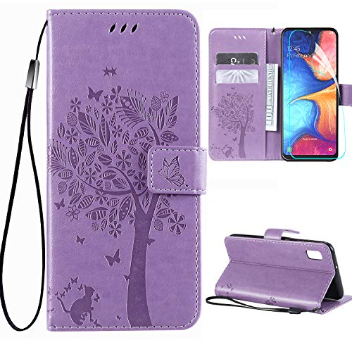 Galaxy A10e Case with Screen Protector,Samsung A10e Wallet Case,Galaxy A10e Flip Case PU Leather Emboss Tree Cat Flowers Folio Magnetic Kickstand Cover Card Slots for Samsung Galaxy A10e Light Purple