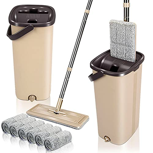 Masthome Squeeze Flat Floor Mop and Bucket Set with 6 Microfiber Mop Pads Refills Easy Self-Wringing Cleaning Mop Bucket Wet and Dry Use for Hardwood Laminate Tile Ceramic Marble Floors Cleaning
