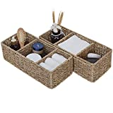 StorageWorks 3-Section Wicker Baskets for Shelves, Hand-Woven Seagrass Storage Baskets, 14.4' x 6.1' x 4.3', 2-Pack