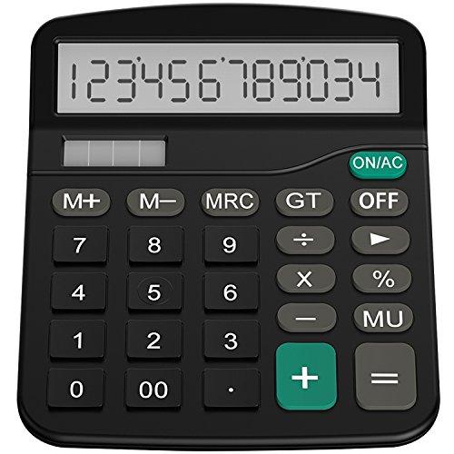 Helect Taschenrechner, Standard-Taschenrechner Dual-Power (Solar und Batterie) Tischrechner (Schwarz) - H1001