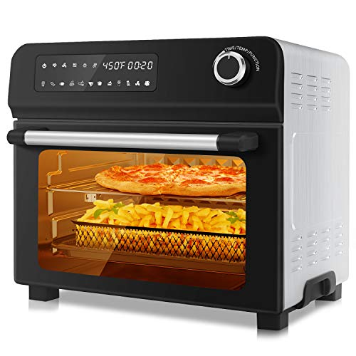 10-in-1 Toaster Oven with Rotisserie, 1700W Air Fryer Combo for Dehydrate Bake Broil Roast Toast, 23Qt Large 2 Convection Speeds Countertop Oven, Digital Touchscreen, 7 Accessories& Recipe Included