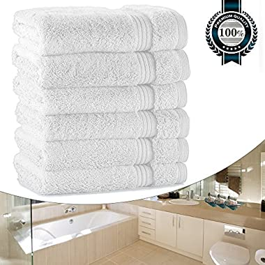 White Wash Cloths for Bathroom, Luxury 700GSM Washcloths Set, 13 x13  Extra Thick, Soft Cotton Towels for Bathroom Spa Facial Kitchen Home, Hotel, Highly Absorbent (6 Set Bulk)