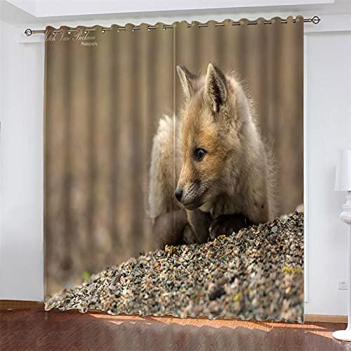 NQING Cortina De Poliéster De Impresión Digital 3D De La Serie Animal con Sombreado Perforado Y Reducción De Ruido, Adecuada para Sala De Estar, Cocina Y Dormitorio 2xAN140xAL245cm