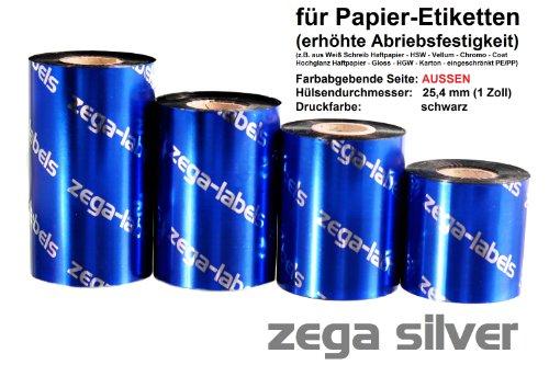 Thermotransfer Farbband schwarz 60 mm x 300 m - zega silver (Wachs/Harz Wischfest) - Farbseite AUSSEN - für Industriedrucker Zebra ZM400/ZM600/ZT220/ZT230/S4M/Z4M/Z6M/XI-Serie mit 1 Zoll Kern 25 mm - für Papieretiketten Bedruckung mit erhöhter Abriebsfestigkeit