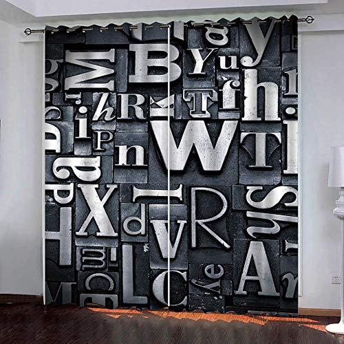 SUZIHUA Verdunkelungsvorhang 3D Silber Buchstabe Massiver Vorhang Isolierung Fensterdekoration Öse Wohnzimmer...