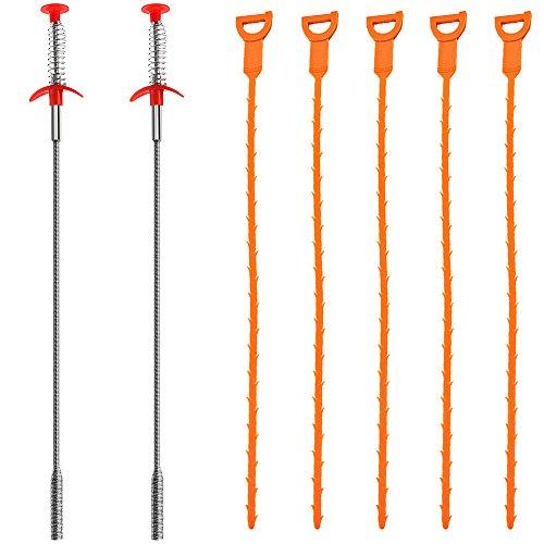 SENHAI 7er-Pack Kalbaggeug,20 Zoll Haarablauf Clog Rmovief Auger Reinigungs-Tool (2 Edelstahl und 5 Kunststoff)