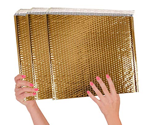 ABC 10 Pack Gold Bubble mailers 13 x 11. Folder size Metallic padded envelopes 13x11. Cushion envelopes Peel and Seal. Large padded mailing envelopes for shipping, packing, packaging. Wholesale