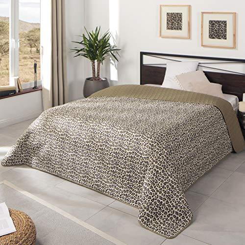 Delindo Lifestyle Tagesdecke Bettüberwurf Leopard, Doppelbett, beige braun Leopardenmuster, für Schlafzimmer, 220x240 cm