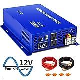XYZ INVT 2500 Watt Pure Sine Wave Inverter 12V DC to 120V AC, 2500W Power Invert Surge 5000W Power Converter for Solar System. (2500W 12V 120V)