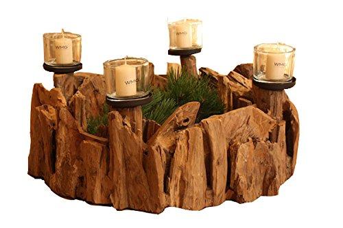 Adventskranz aus Teak Holz. EIN Highlight Nicht nur zum Advent. Circa 60 cm im Durchmesser und Circa 20 cm hoch.
