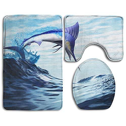 If Not Schöne Blaue Marlin Mode Badezimmer Teppich Matten Set 3 Stück Anti-Rutsch-Pads Badematte + Kontur + WC-Deckel Abdeckung
