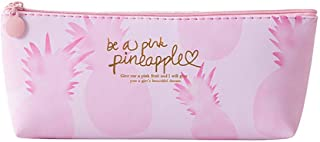 Jeeke Pink Pineapple Pencil Case Cosmetic Bag Makeup Pouch Pencils Box,Multifunctional Storage Bag