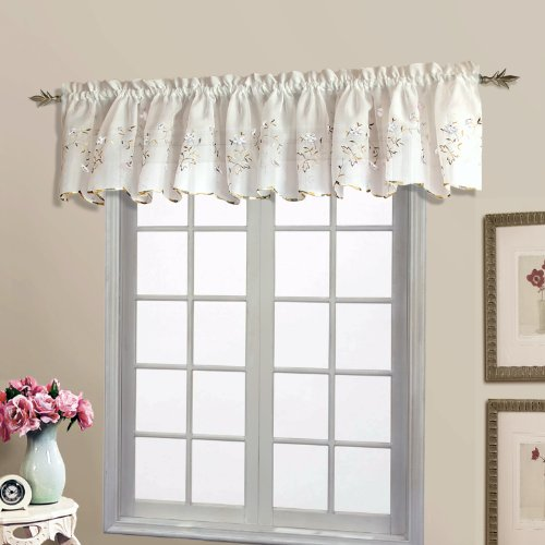 United Curtain Loretta Embroidered Sheer Shaped Valance, 52 by 18-Inch, White