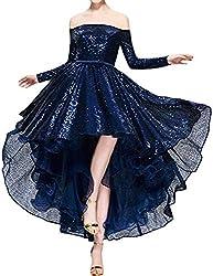 Navy Blue Sequins Off The Shoulder Long Sleeve High Low Hem Gown