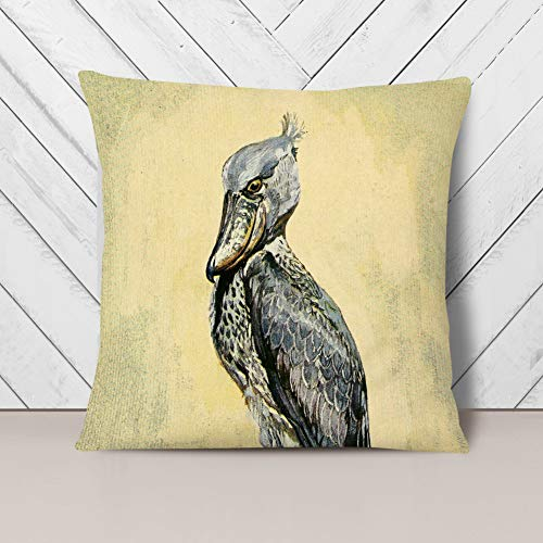 Big Box Art Cushion and Cover - Vintage H Johnston Whale-headed stork - Single Square Throw Pillow - Soft Faux Suede Material - Charcoal Rear - 40x40 cm