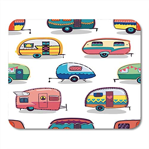 "AOHOT Mauspads Caravan Mid Fifties Cartoonish Campers Pattern Van Vespa Vintage Mouse pad 9.5\"" x 7.9\"" for Notebooks,Desktop Computers Accessories Mini Office Supplies Mouse Mats"