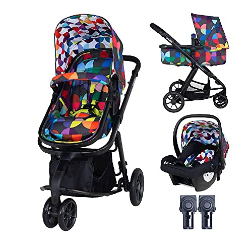 Cosatto Giggle Pram, Pushchair & Baby Car Seat 2 in 1 Bundle – from Birth to 18Kg, Lightweight Travel System, Kaleidoscope