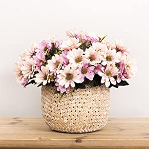 Silk Flower Arrangements Smartcoco 10 Heads Artificial Daisy Silk Flowers Fake Flowers for Vintage Home Wedding Decor, Pack of 5 (Light Pink)