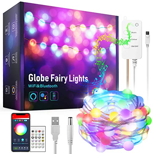 Alexa Globe String Lights LED, Aoycocr Smart WiFi Bluetooth Ball Fairy Lights, App Remote Control Outdoor Waterproof RGB Music Sync USB Plug in Hanging Decorative Lighting for Indoor Bedroom 33ft/10m