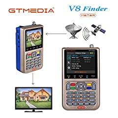 "GT MEDIA V8 Satellite Finder Meter Sat Finder Satellite Detection DVB-S/ S2 / S2X Signal Receiver Decoder HD 1080P FTA 3,5"" LCD Ingebouwd 3000mAh Voor nauwkeurige aanpassing van de schotelantenne*"