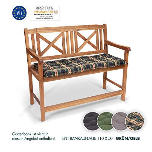 Homeoutfit24 Sun Garden 1-Stück Bankauflage Sylt in Grün/Gelb Sitzkomfort auf höchstem Niveau, hochwertiges Polsterkissen für Gartenmöbel, 110 x 50 x 7 cm