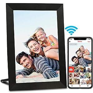 AEEZO Marco de Fotos Digital WiFi de 9 Pulgadas, visualización táctil IPS HD, función de rotación automática, fácil configuración para Compartir Fotos y vídeos (Negro)