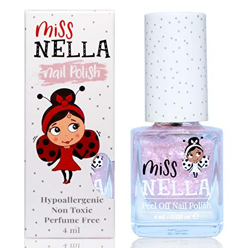 Miss Nella NEW magische Sammlung ABRACADABRA abziehbarer Nagellack speziell für Kinder, rosa Glitzer, Peel-Off-Formel, ungiftig, wasserbasiert und geruchsneutral