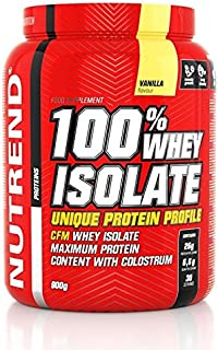 Whey Protein Isolada de proteína de suero en polvo 100% de aislado por Nutrend aislado de sabor a plátano 900 g (WPI) amino (AACR), bajo azúcar, método CFM.