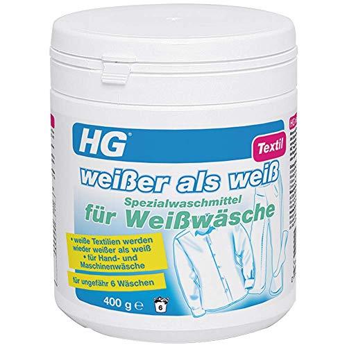 HG Weißer als Weiß Spezialwaschmittel für Weißwäsche 400 gr - ist ein Waschmittel für weiße Wäsche, das eine Verfärbung Ihrer Weißwäsche verhindert oder rückgängig macht