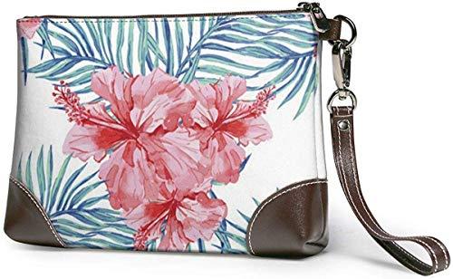 Tropische Zierpflanzen Leder Wristlet Clutch Bag Reißverschluss Handtaschen Geldbörsen für Frauen Telefon Brieftaschen mit Strap Card Slots