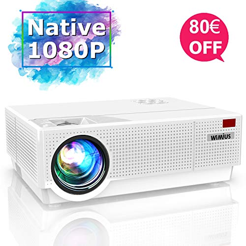 Videoproiettore,WiMiUS 6800 Lumen Nativa 1080P (1920x1080) LED Proiettore Full HD Correzione Trapezoidale ±50° Schermo 300' Con Supporto 4k Smartphone,PC,PS4,TV Box, Fire Stick