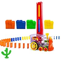 Oiuros Domino Train 80-Piece Block Set for 3-7 Year Old Toys, Boys Girls Creative Gifts for Kids