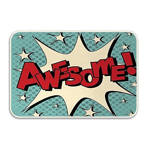 Burbuja de cómic en estilo Pop Art con felpudo de dibujos animados de humor impresionante y con ícono de estrellas, felpudo de franela suave para la puerta de entrada a la casa, alfombras decorativas