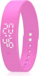 Smart Wristband Pedometer Watch Non-Bluetooth Pedometer Bracelet Fitness Tracker Watch with Step Calories Counter Distance Time/Date [No app,No Phone Need] for Walking Running Kids Men Women (Pink)
