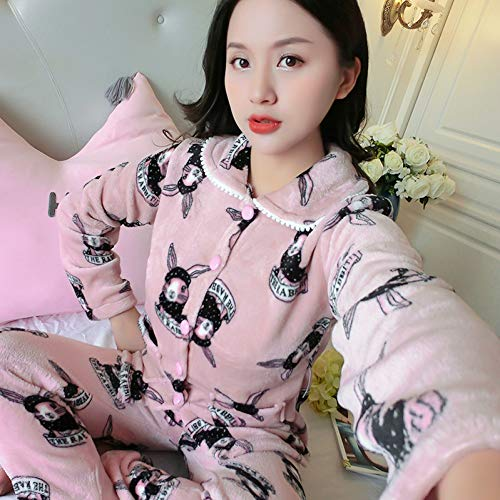 BLINGHG Winter WomenThicken Flannel Pajama Sets Lapel Warm Mooie cartoon Pyjama roze Nachtjapon Slaapmode Set Thuis Vrije tijd Draag