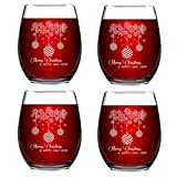 Merry Christmas Stemless Wine Glass Gift for Women Friends, 15 Oz Funny Stemless Wine Glasses Set, Perfect Christmas Gift Idea for Mom Wife Girlfriend Sister Wedding Birthday Party, Set of 4