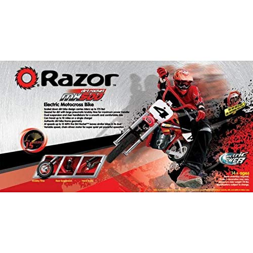 Razor MX500 Dirt Rocket Adult & Teen Ride On High-Torque Electric Motocross Motorcycle Dirt Bike, Speeds up to 15 MPH, Red