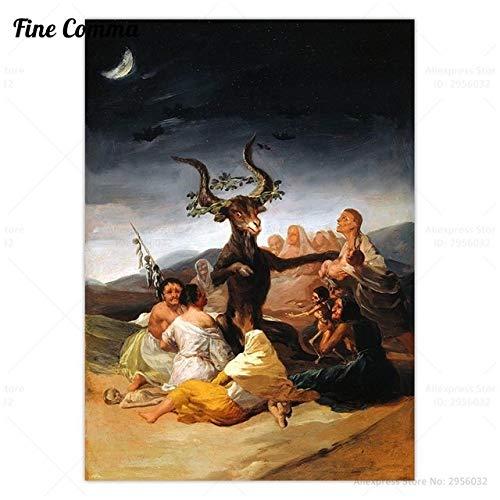 HUAZAI Pintura de la Lona Sabat de Las Brujas Francisco Goya Cartel Antigua del Arte de la Pintura Cuadro de la Pared del Satan Cuernos de Cabra Lienzo de la lamina de decoracion Sala