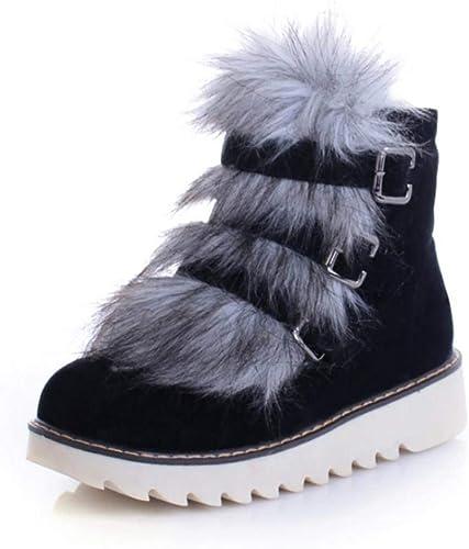 ZHRUI Pantalon d'hiver à Bout Rond pour Femme, Bottes d'hiver (Couleuré   Noir, Taille   38)