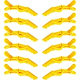 GLAMFIELDS 12 pcs Alligator Hair Clips for Styling Sectioning, Non-slip Grip Clips for Hair Cutting, Durable Women Professional Plastic Salon Hairclip with Wide Teeth & Double-Hinged Design Yellow